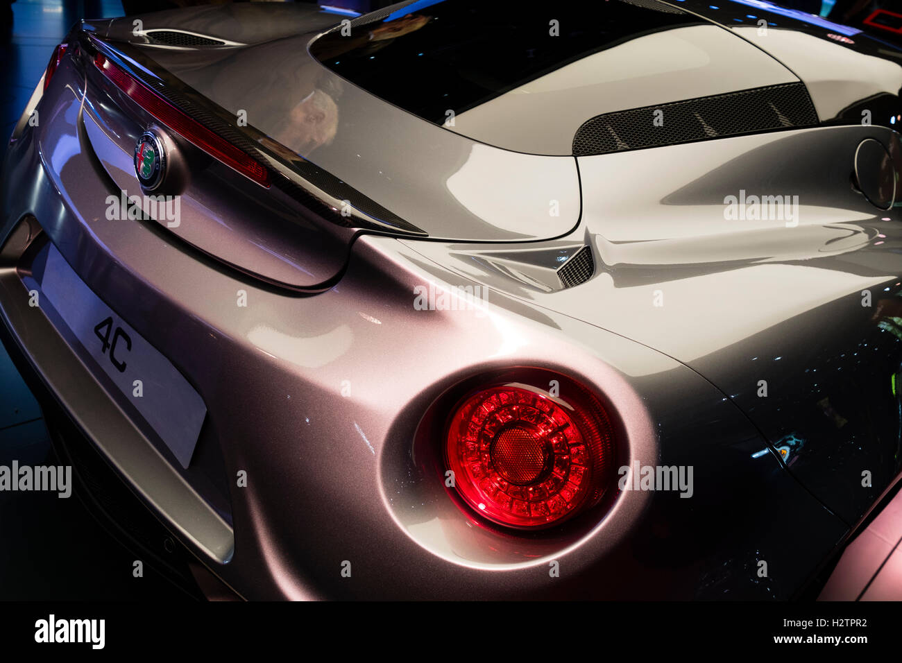 Detail des Alfa Romeo 4C Auto auf der Paris Motor Show 2016 Stockbild