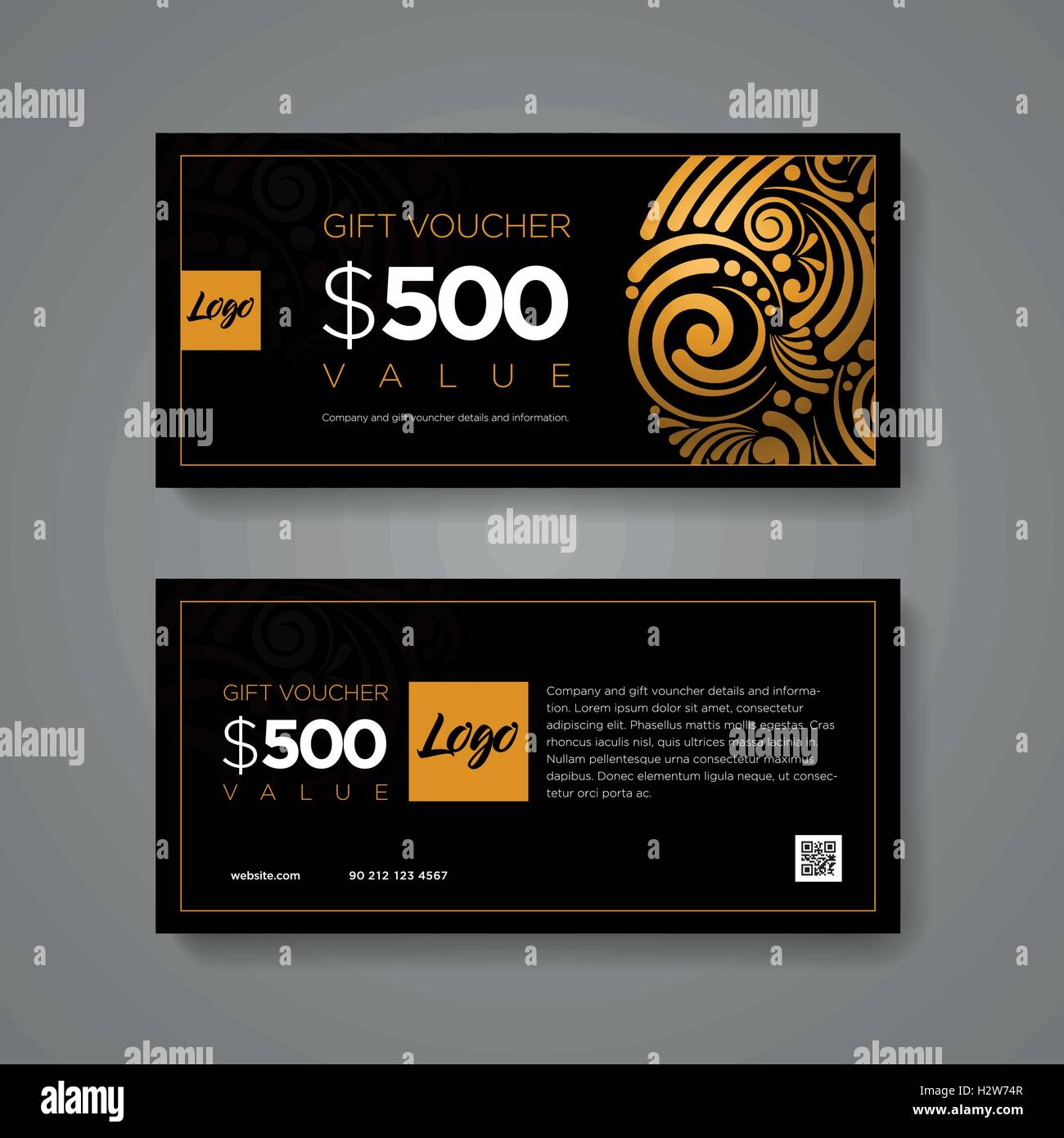Geschenk-Gutschein-Design-Vorlage. Luxus Gold und schwarzen Blättern ...