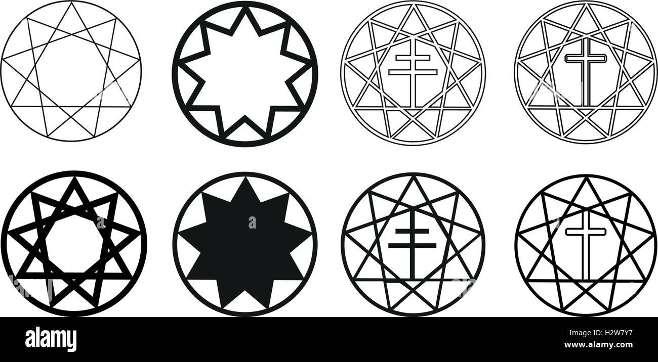 Neun fünfzackigen Stern, Sterne in einem Kreis, Stern und Kreuz ...
