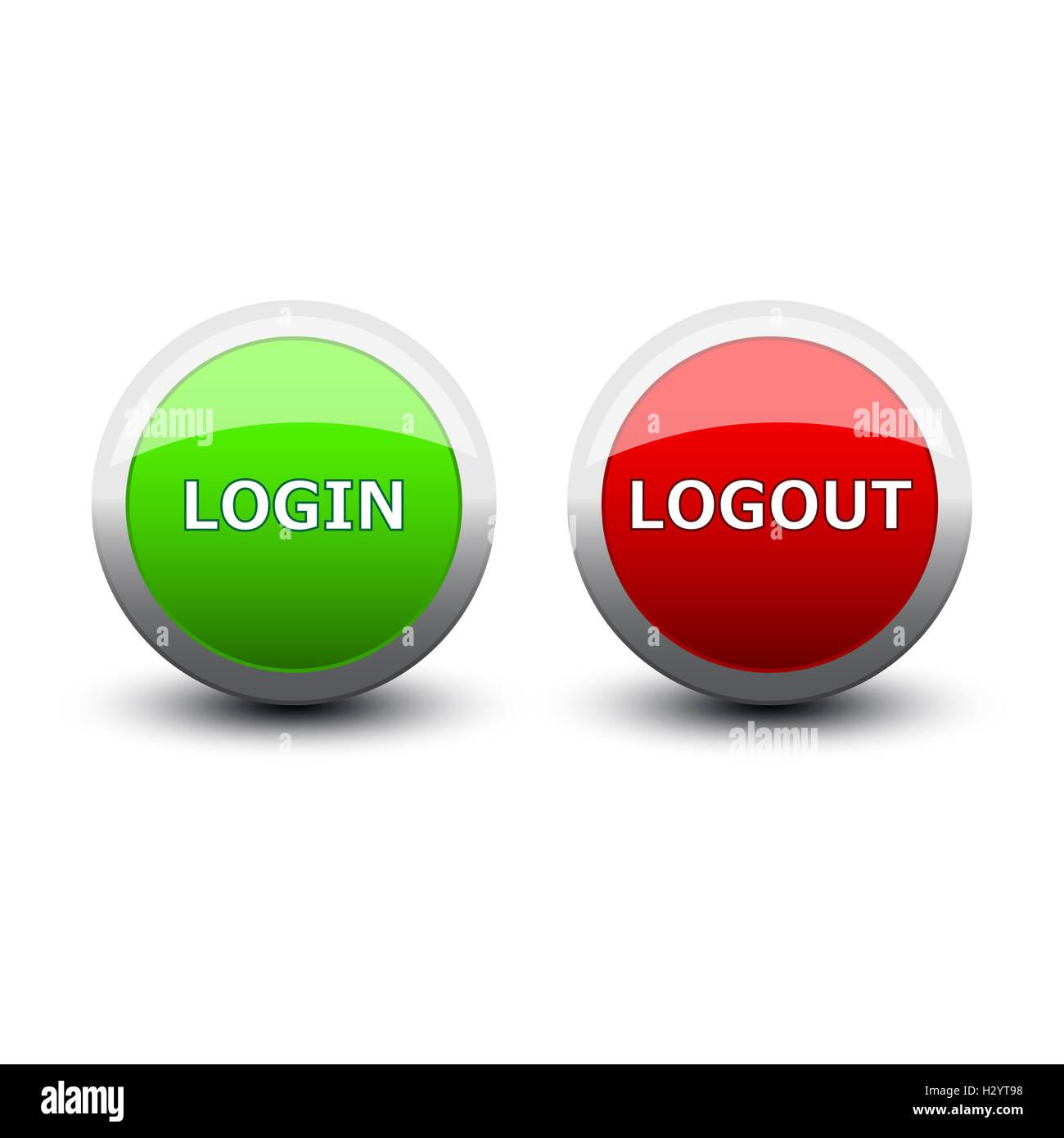 Buttons Login Logout Stockfotos und  bilder Kaufen   Alamy
