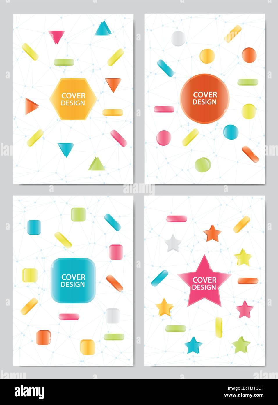 Cover Buch Design Vorlage Dekoration Hintergrund festlegen Vektor ...