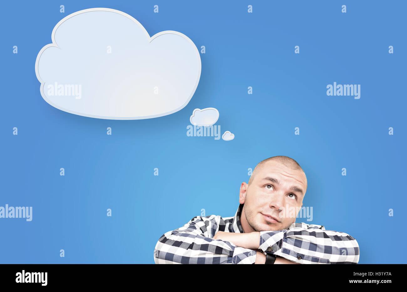 Hübscher kaukasischen Mann auf einem grafischen Hintergrund isoliert Stockbild