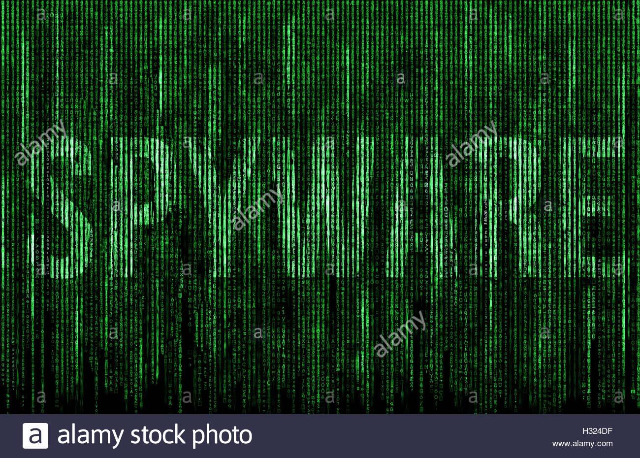 Spyware-digital-Matrix-Darstellung Stockbild