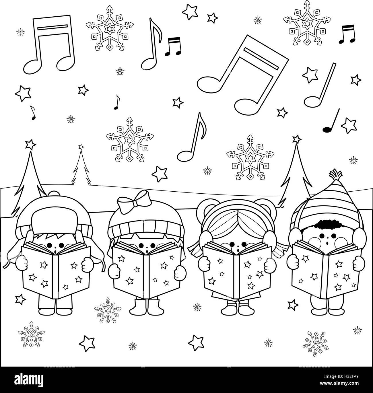 Gruppe von Kindern Weihnachten singen Weihnachtslieder. Schwarz ...