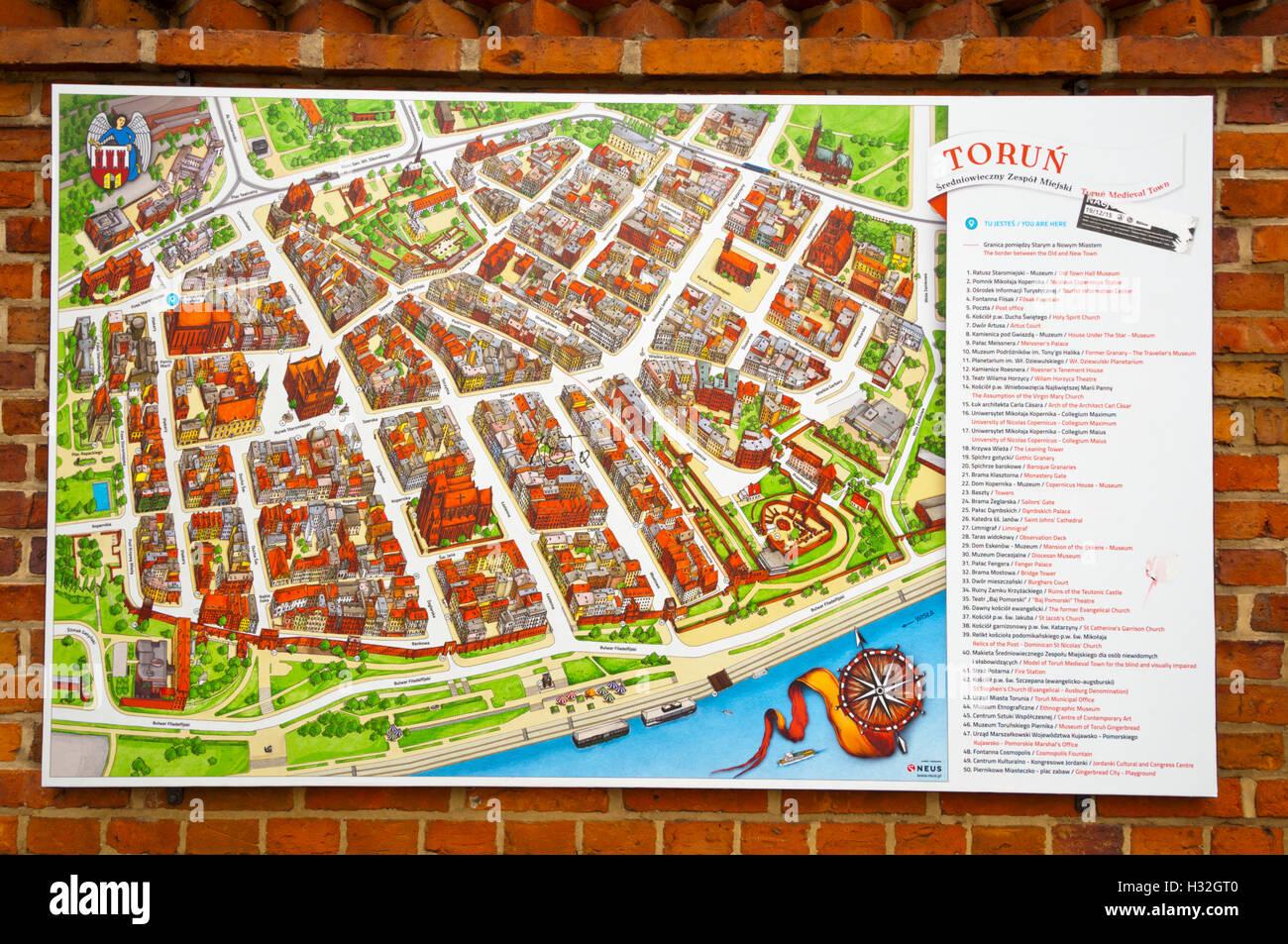 Karte Der Alten Stadt Torun Pommern Polen Stockfotografie Alamy