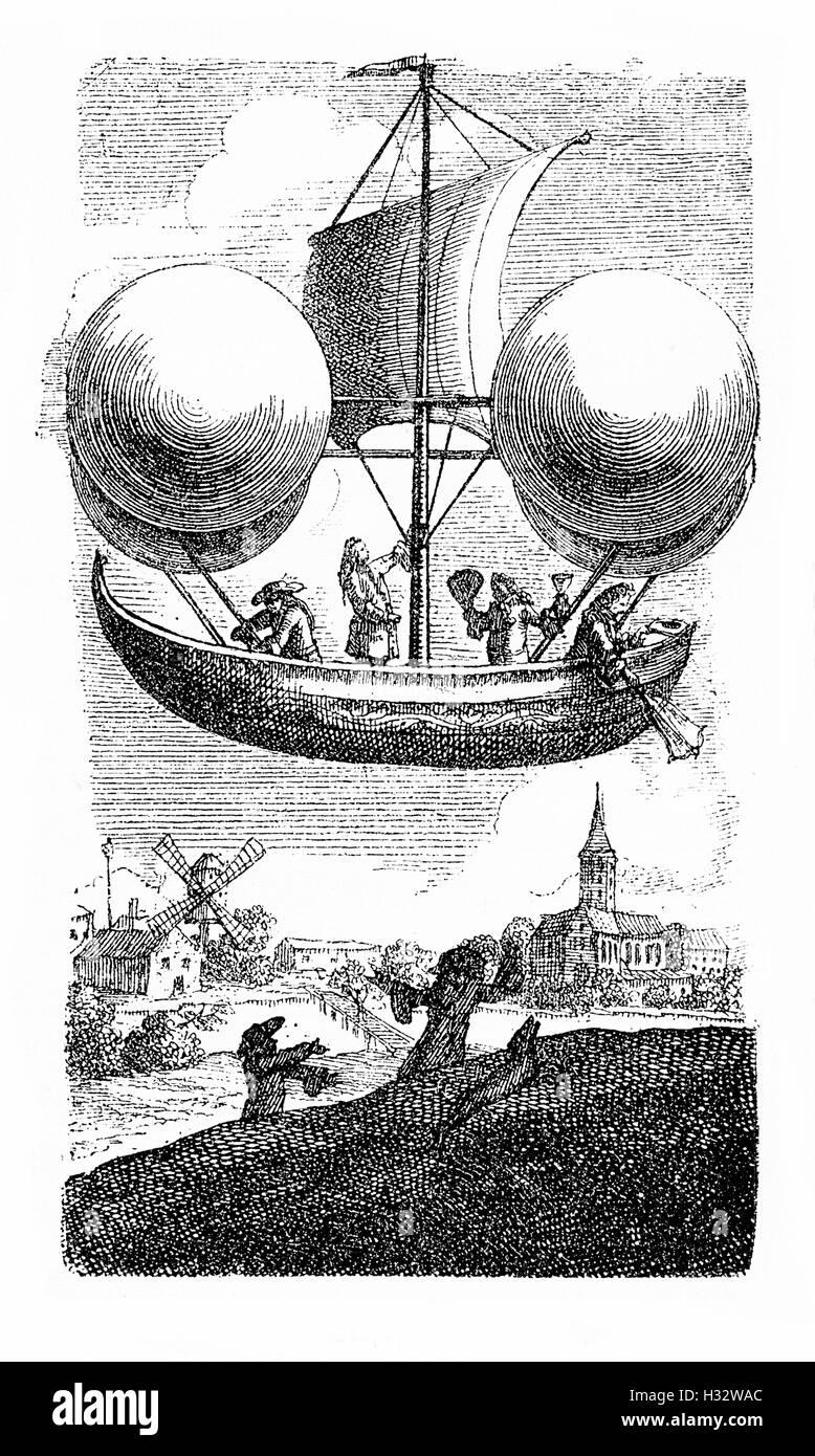 XVII. Jh., fliegende Schiffskonzept von Jesuit Francesco Lana de Terzi, nicht durch den Luftdruck auf die 4 Kupfer Stockbild