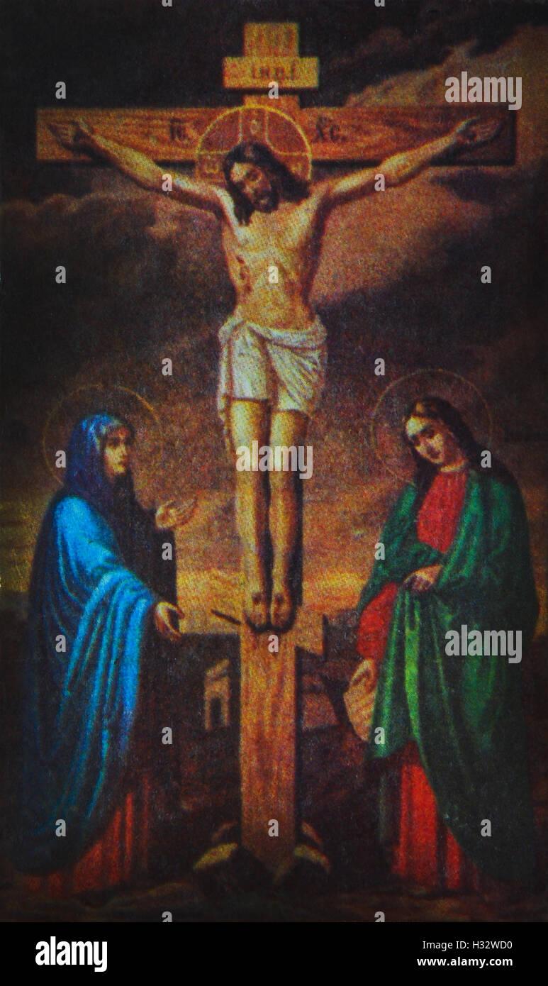 Herrn Jesus Christus am Kreuz Stockbild
