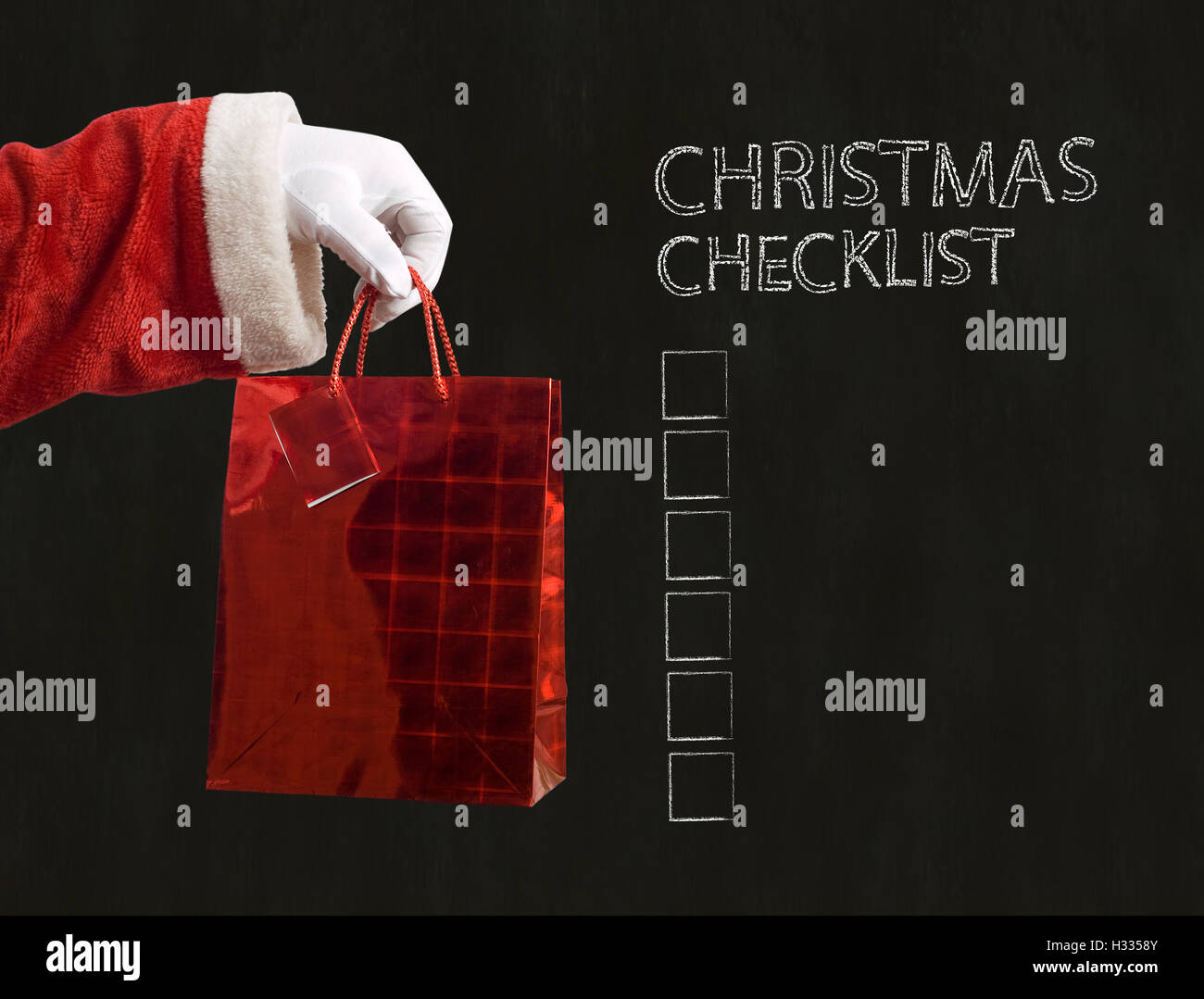 Vater Weihnachten und Weihnachts-Checkliste Stockfoto, Bild ...