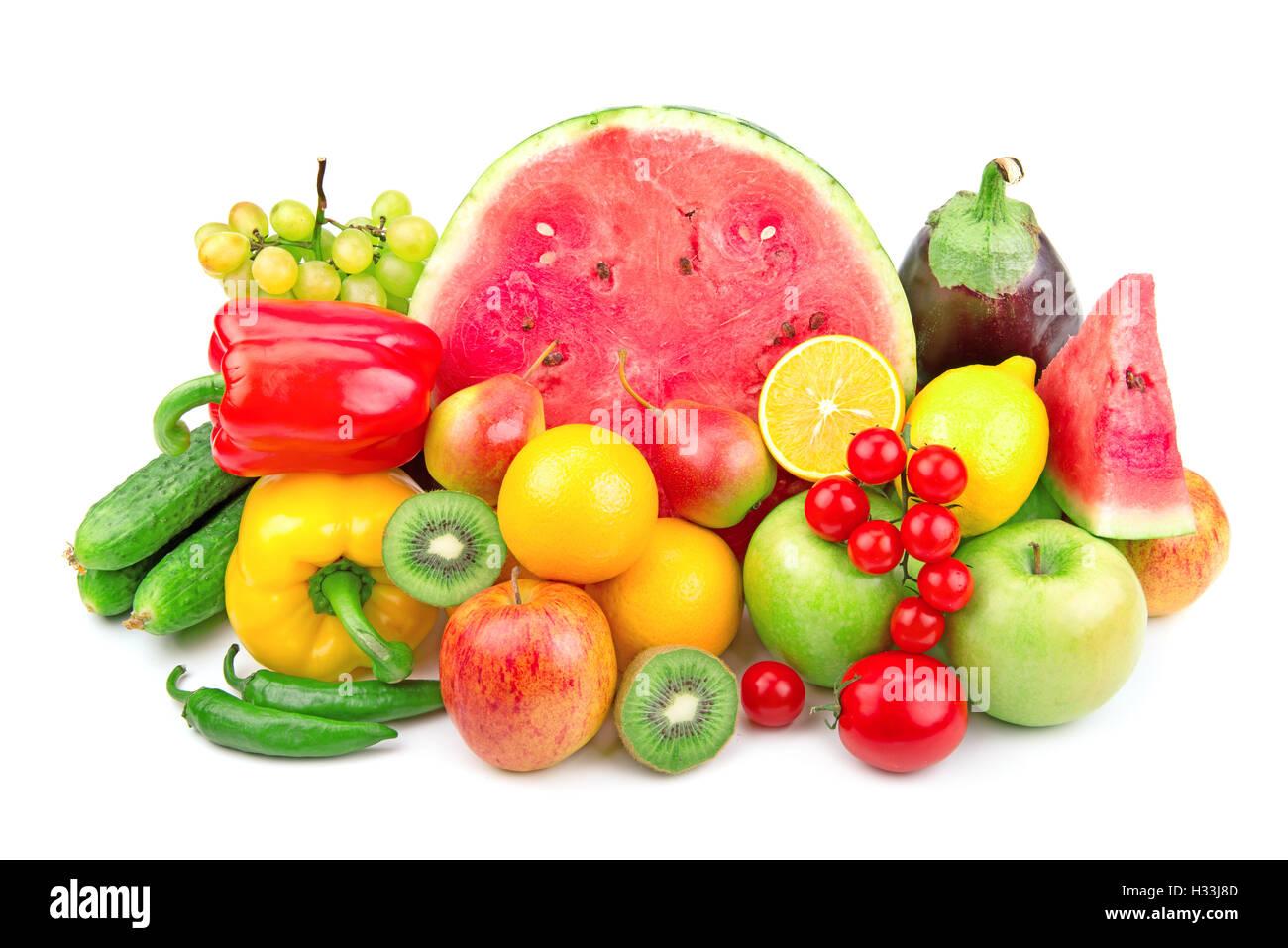Berühmt Wassermelone und eine Vielzahl von Obst und Gemüse isoliert auf #ZB_19