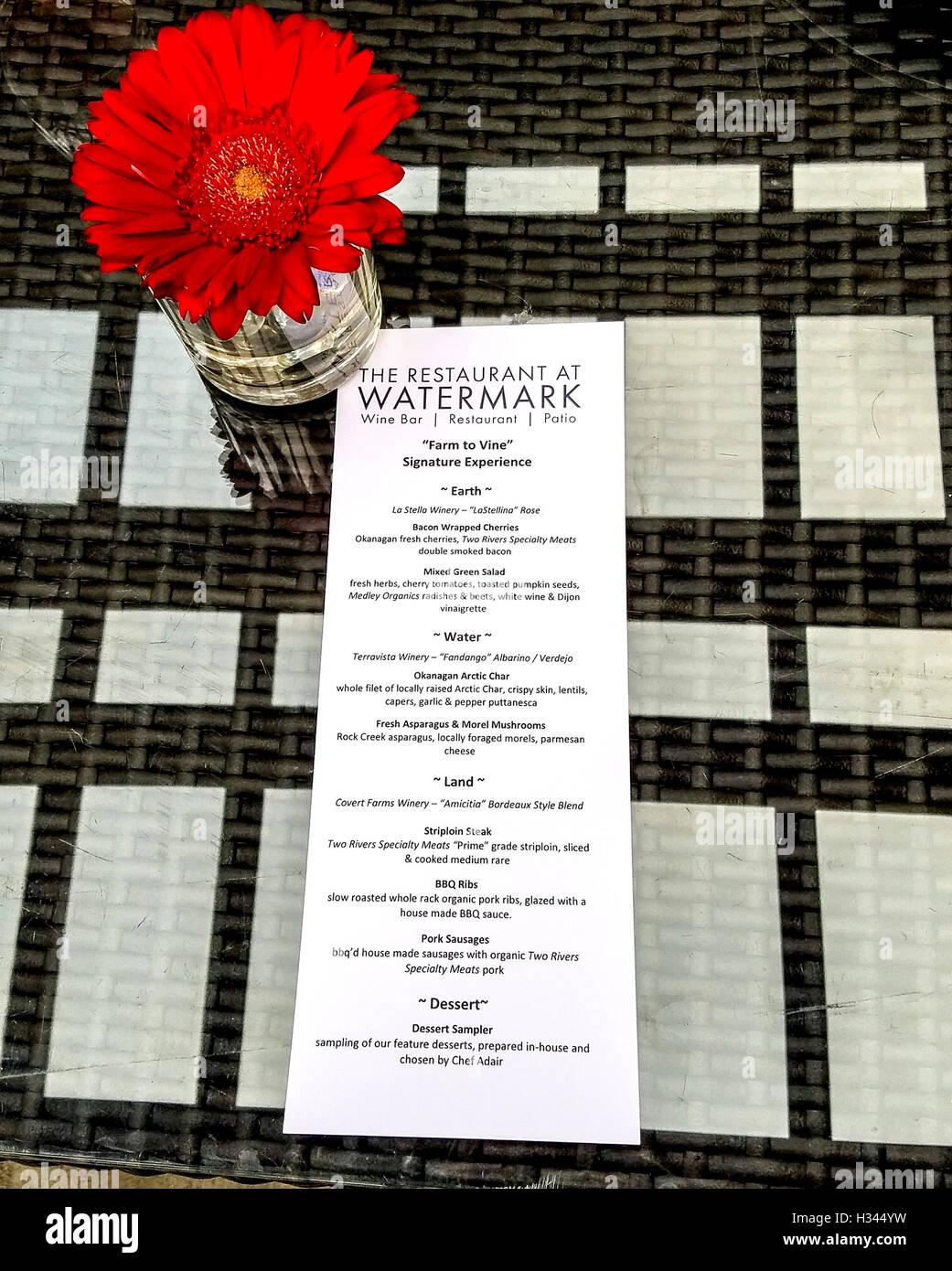 Menü für Farm Rebe Signatur Erfahrung Abendessen im Wasserzeichen Resort Restaurant in Osoyoos, BC, Kanada Stockbild