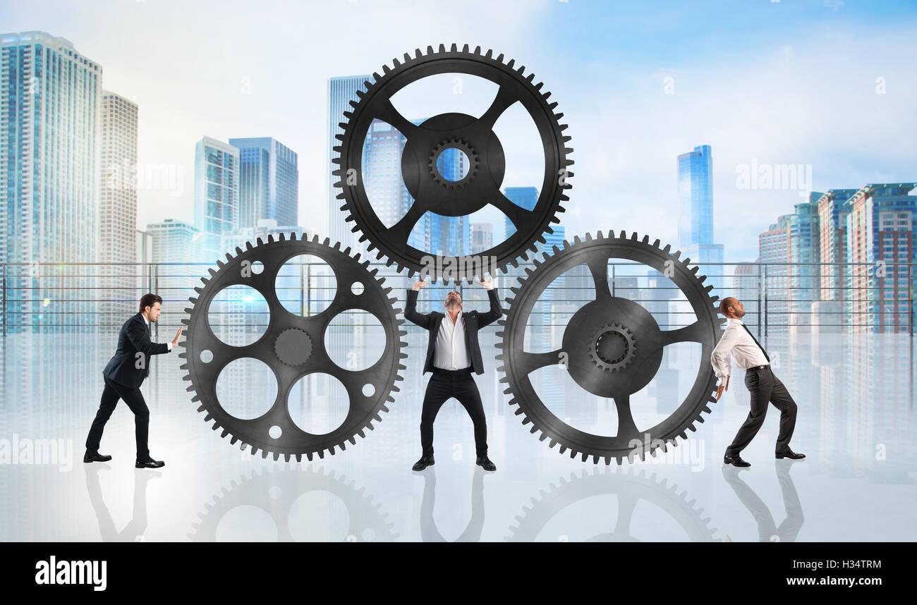 Teamarbeit arbeiten zusammen Stockbild