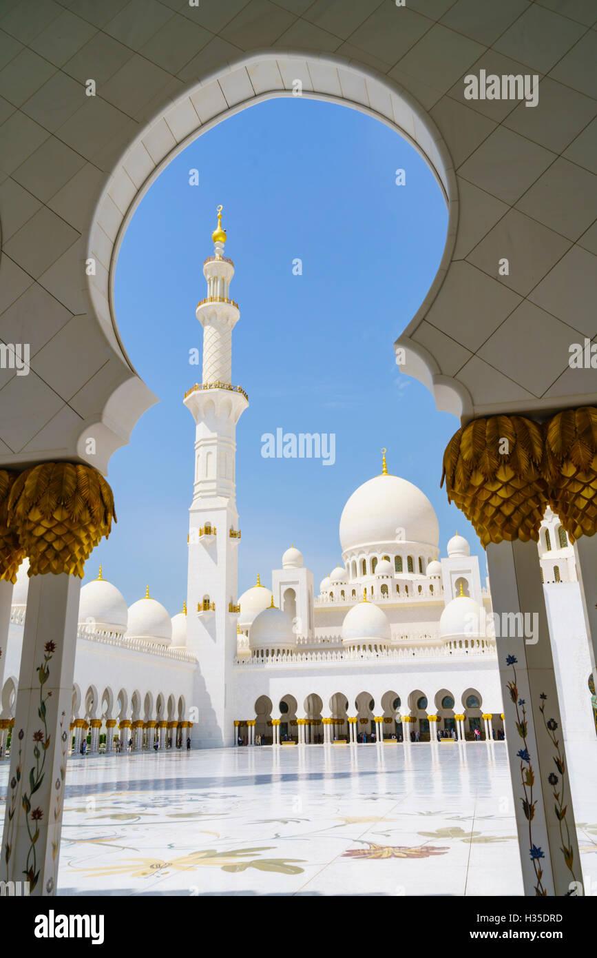 Sheikh-Zayed-Moschee, Abu Dhabi, Vereinigte Arabische Emirate, Naher Osten Stockbild