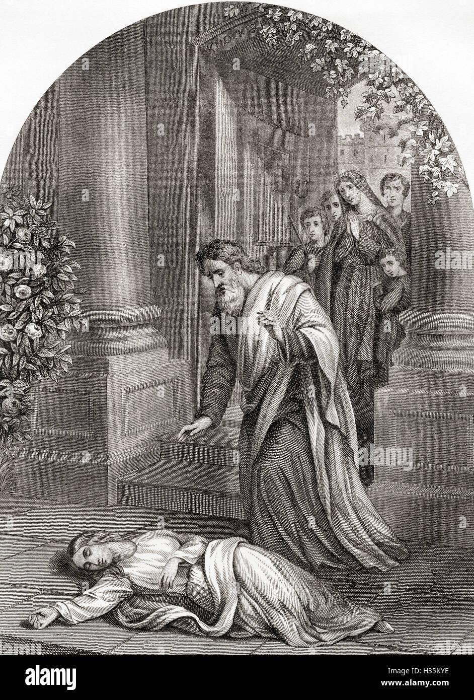 Barmherzigkeit vor dem Tor.  Illustration aus dem Jahre 1678 Roman von John Bunyan, The Pilgrim es Progress. Stockbild