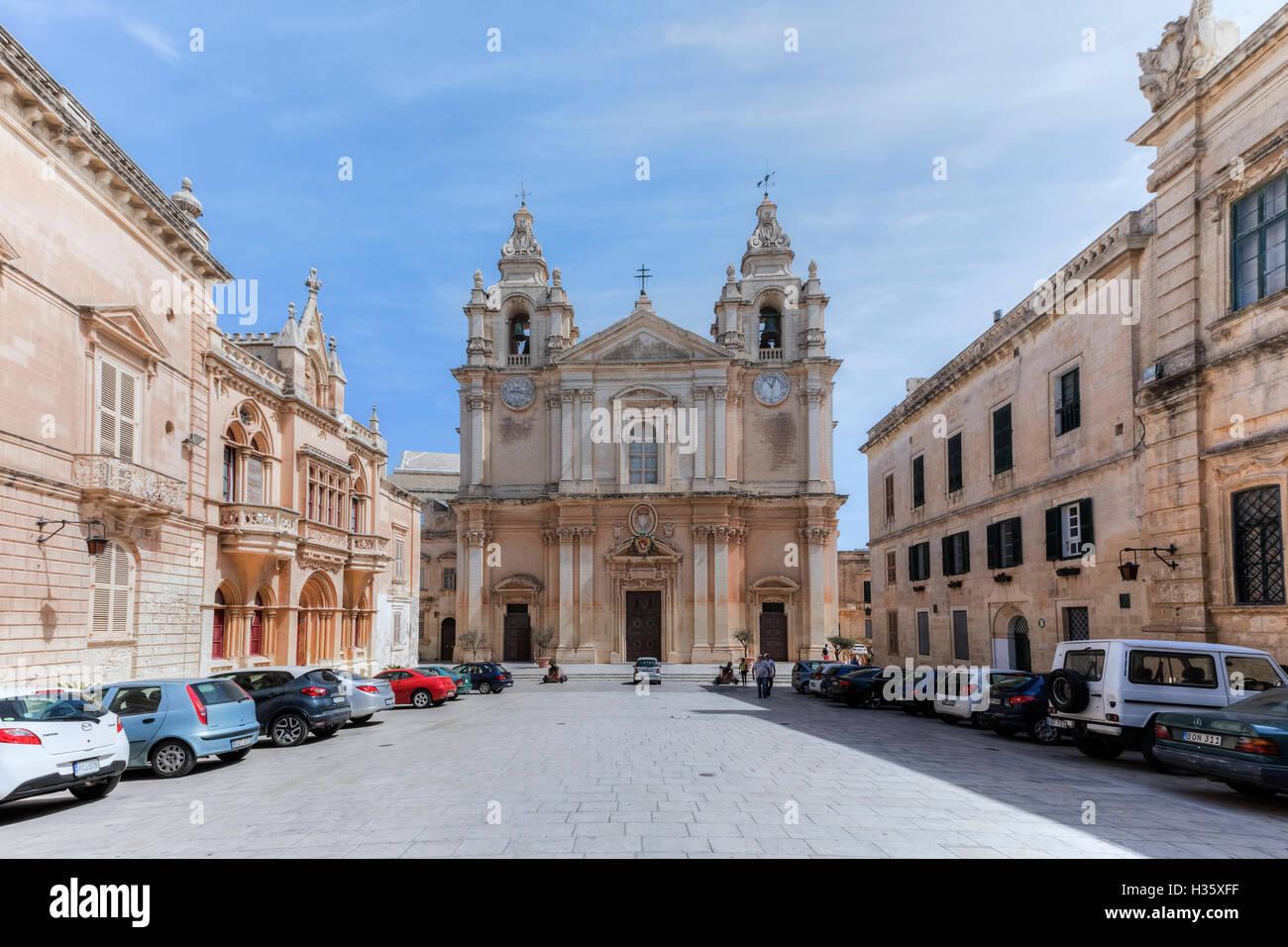 Kathedrale, Mdina, Malta Stockbild