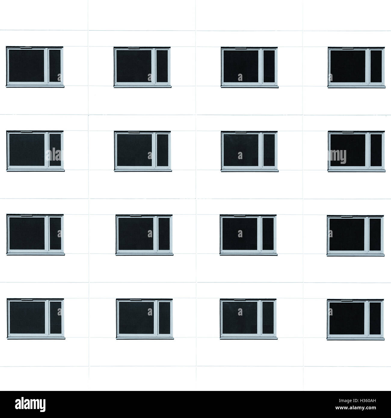 Moderne Wohn Gebäude Windows-Hintergrund. Monochromatische quadratische Bild Stockbild