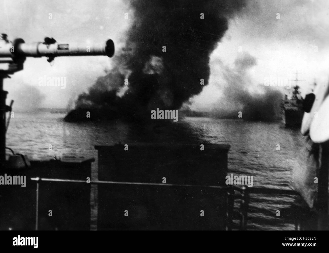 Versenkung der französischen Flotte in Mers - el - Kebir, 1940 Stockbild
