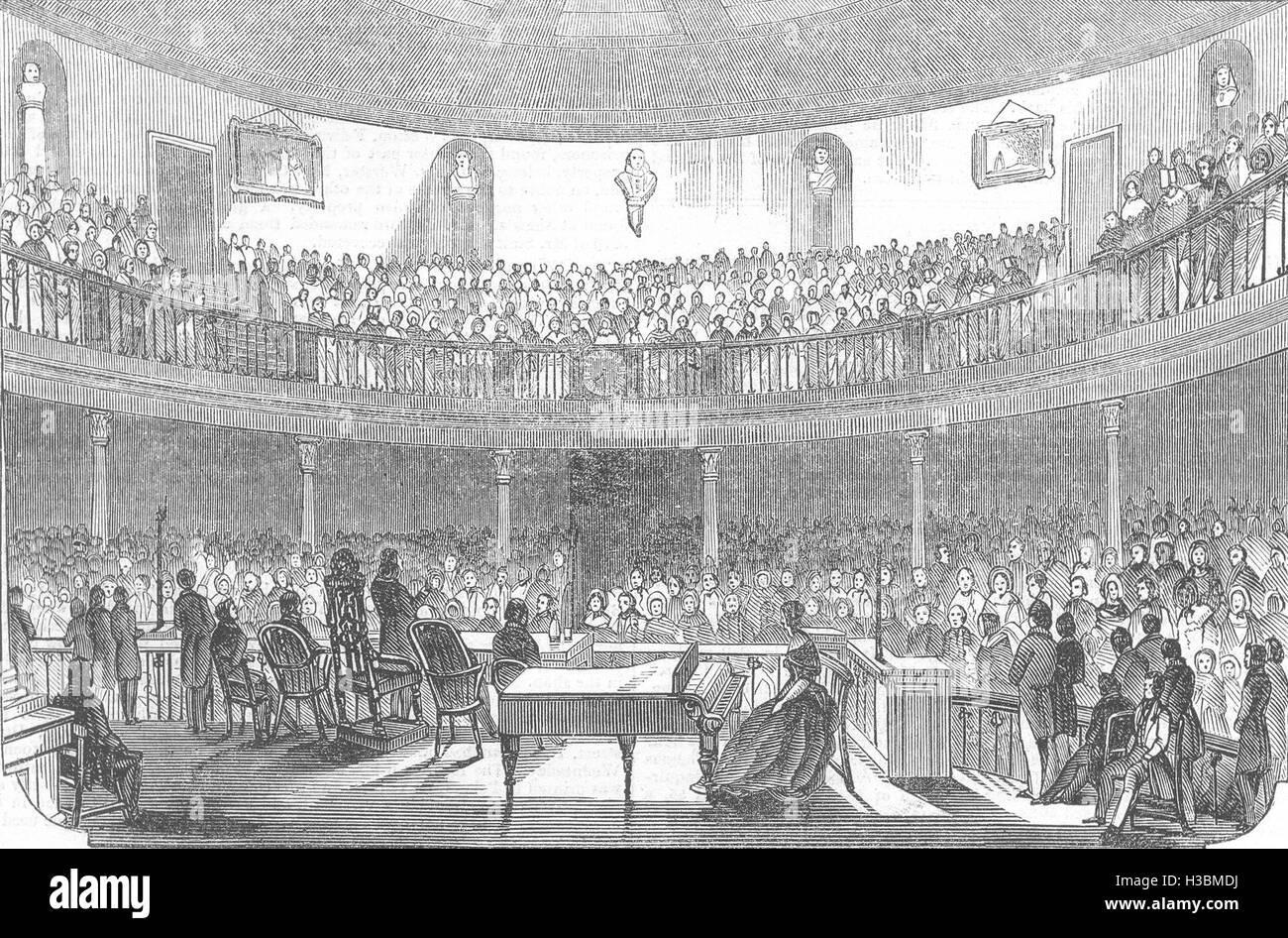 LIVERPOOL-Soiree am Mechanik; INST, Dickenss Adresse 1844. Der illustrierte London News Stockbild