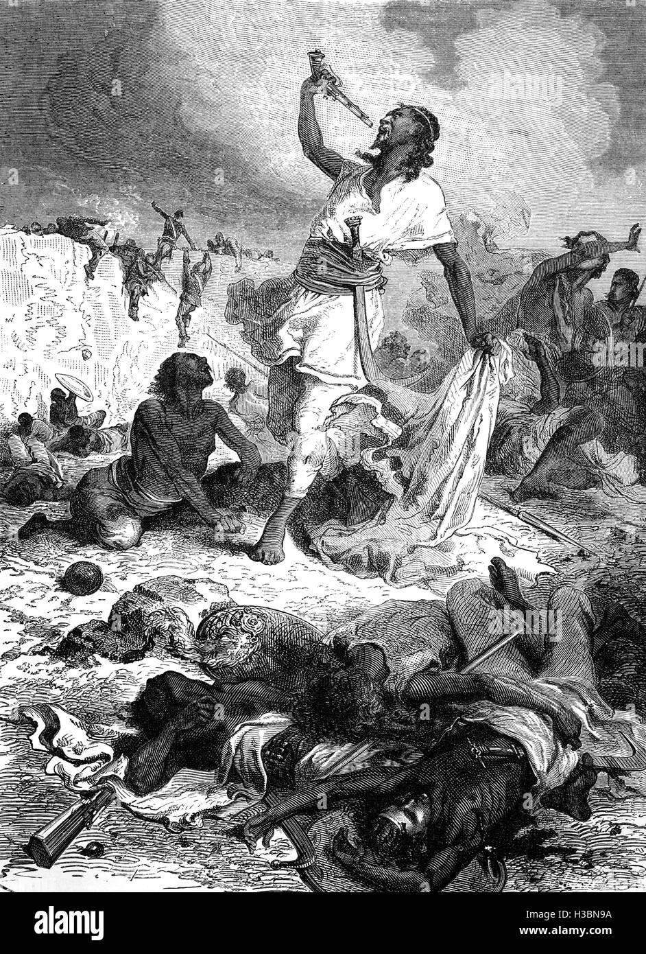Kaiser Theodore (Tewodros) II von Abessinien zogen sich in die Festung Magdala. Die Briten begannen mit einem Artilleriebeschuss Stockbild