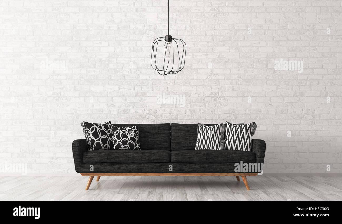 Moderne Einrichtung Von Wohnzimmer Mit Sofa Und Lampe Schwarz Gegen Weiß  Brick Wall 3D Rendering