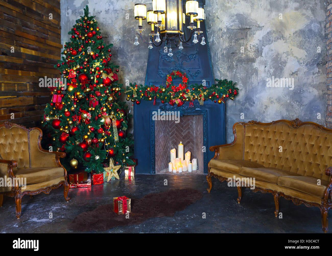 Weihnachts-Zimmer Innendesign, Weihnachtsbaum von Lichter ...
