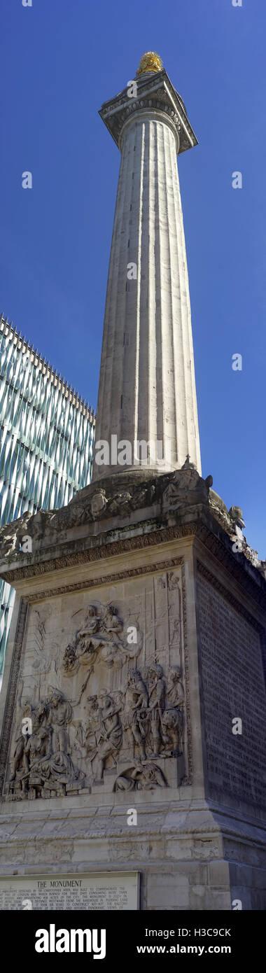 Die große Statue - Denkmal, das große Feuer von London, Vereinigtes Königreich Stockbild