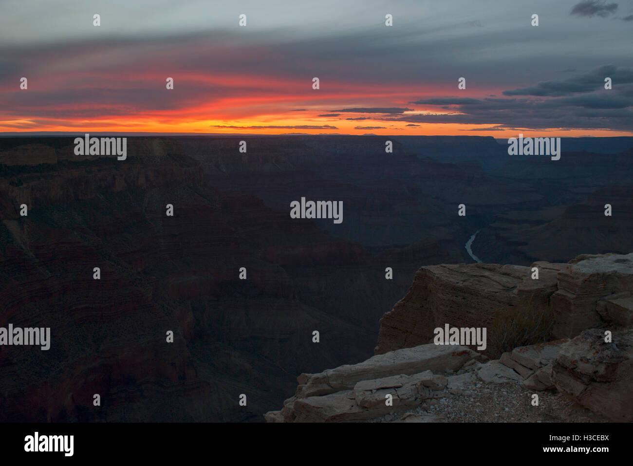 Sonnenuntergang über den Grand Canyon, Arizona, USA Stockfoto