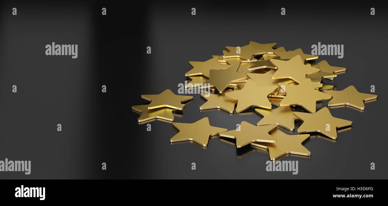 3D Abbildung vieler goldene Sterne auf schwarzem Hintergrund, horizontales Bild für den header Stockbild