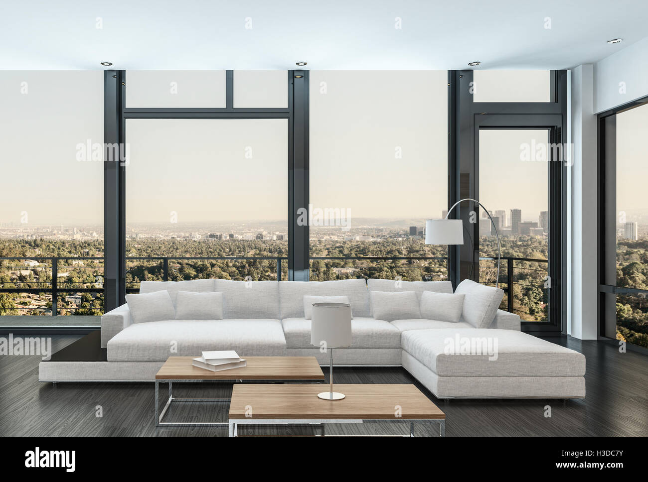 groe moderne weie kombinierbares und tagesbett in einem luxus wohnung wohnzimmer interieur mit fuboden zudecke fenster mit blick auf eine uere patio - Modernes Tagesbettgestell