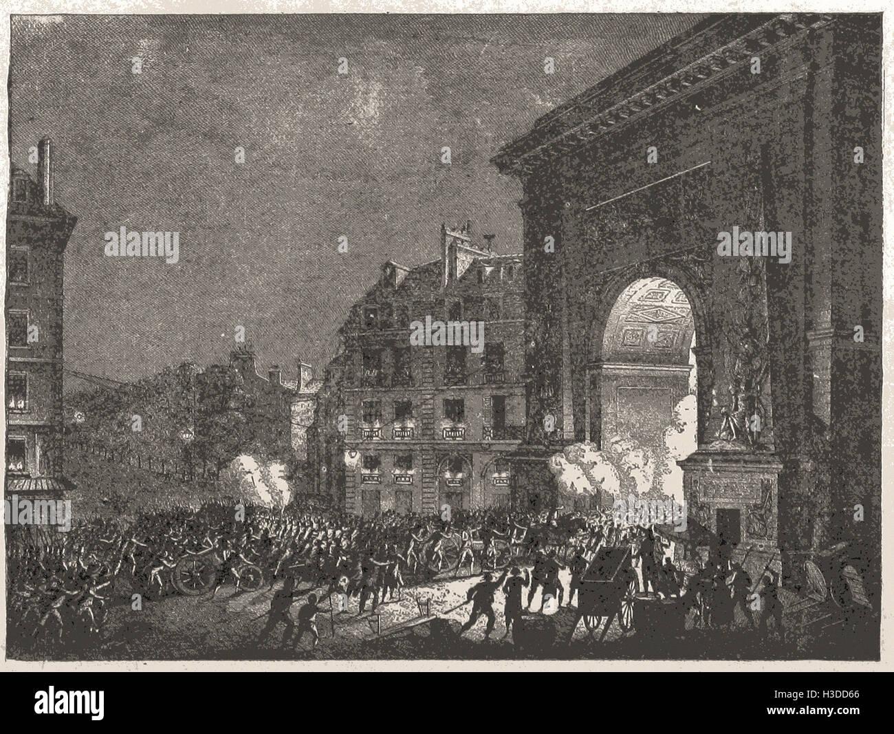 DIE MENSCHEN SAMMELN ARME IN DER NACHT, PARIS, 13. JULI 1789 Stockbild