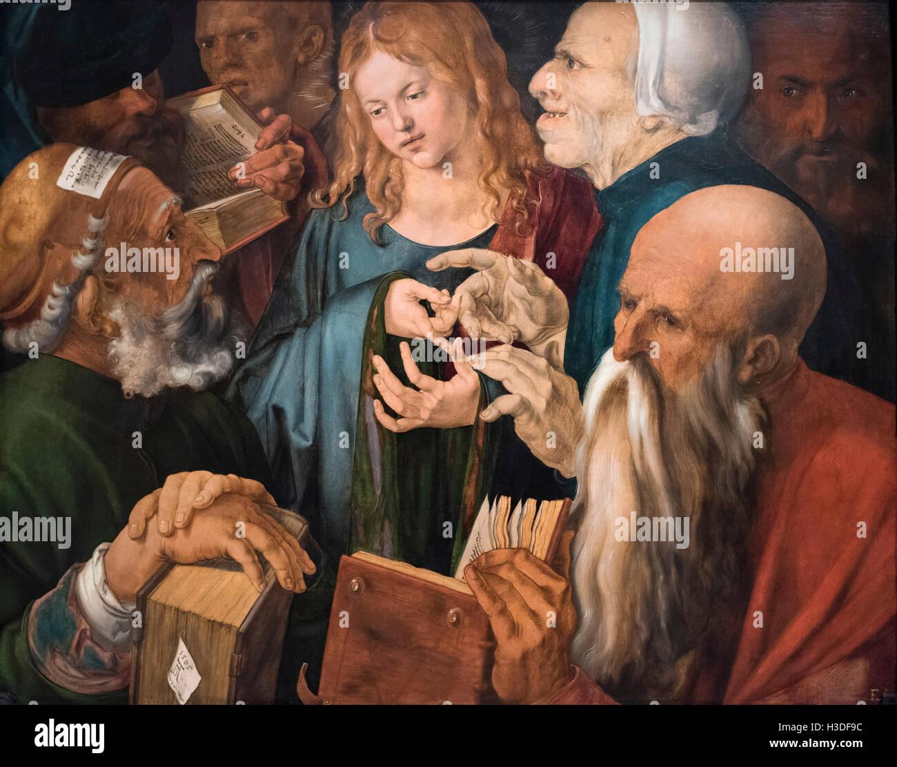 Albrecht Dürer (1471-1528), Jesus mitten unter den Lehrern, 1506. Museo Thyssen-Bornemisza, Madrid, Spanien. Stockbild