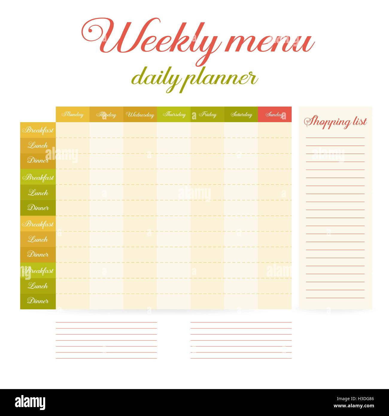 Printable Weekly Planner Stockfotos & Printable Weekly Planner ...