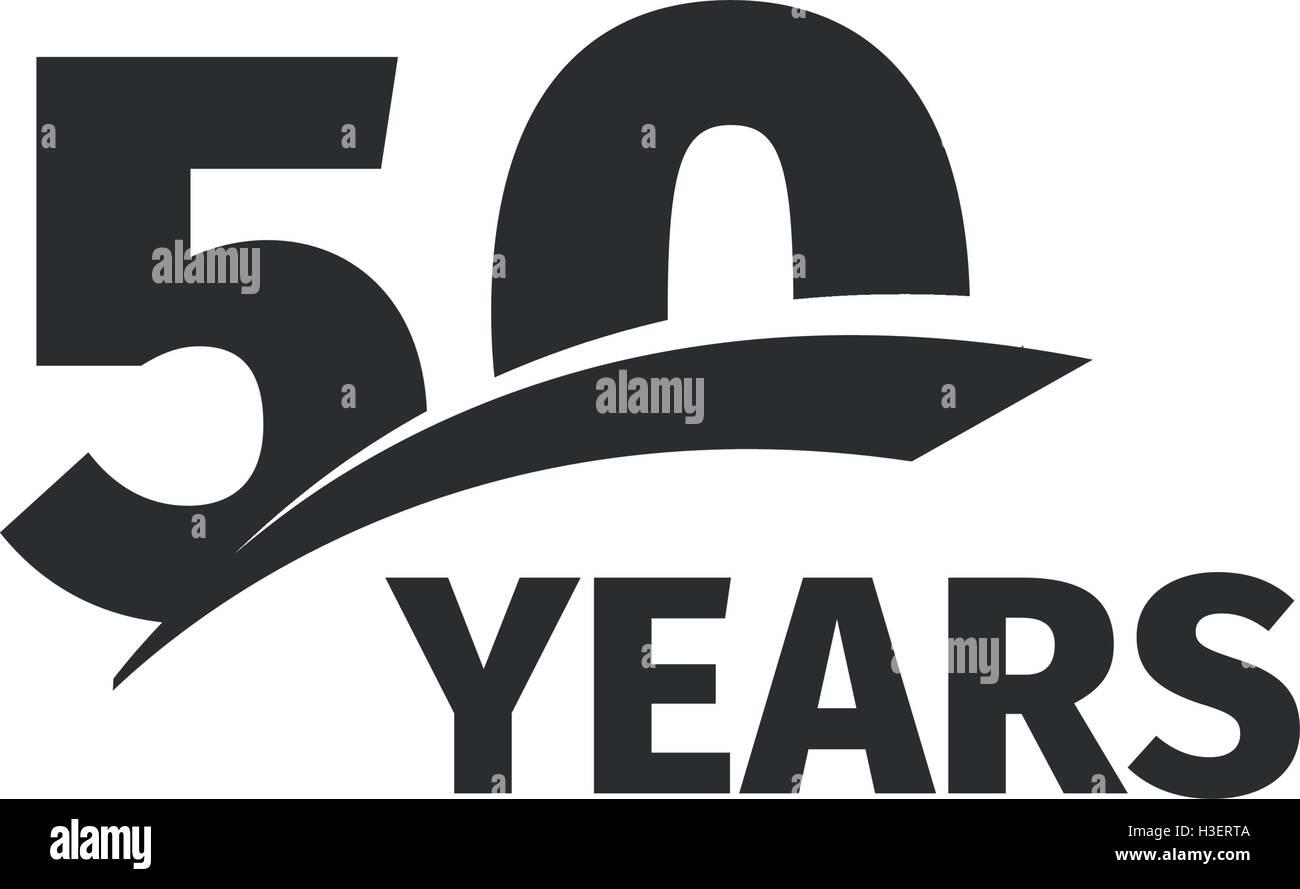 Abstrakt Schwarz Isoliert 50 Jubilaumslogo Auf Weissem Hintergrund