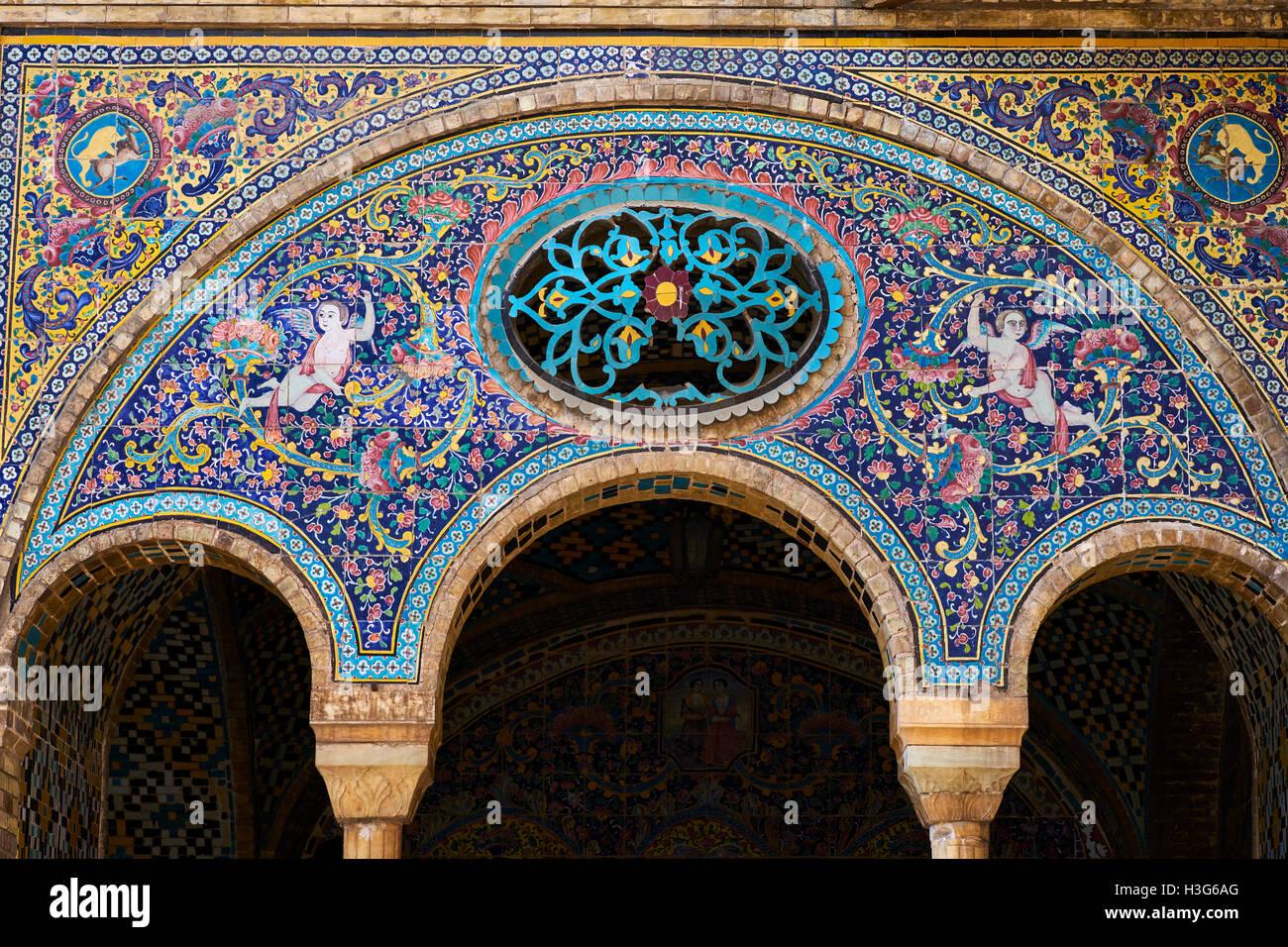 Iran, Teheran, Golestan Palast, Weltkulturerbe Der UNESCO, Geflieste  Dekorationen