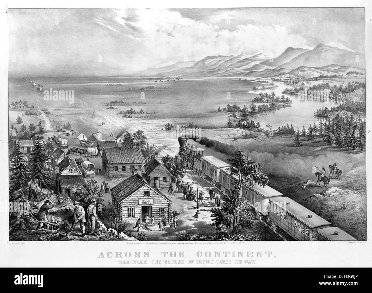 ÜBER den Kontinent Currier & Ives 1868 Lithographie von Frances Flora Palmers Malerei war die in vielen Stockbild