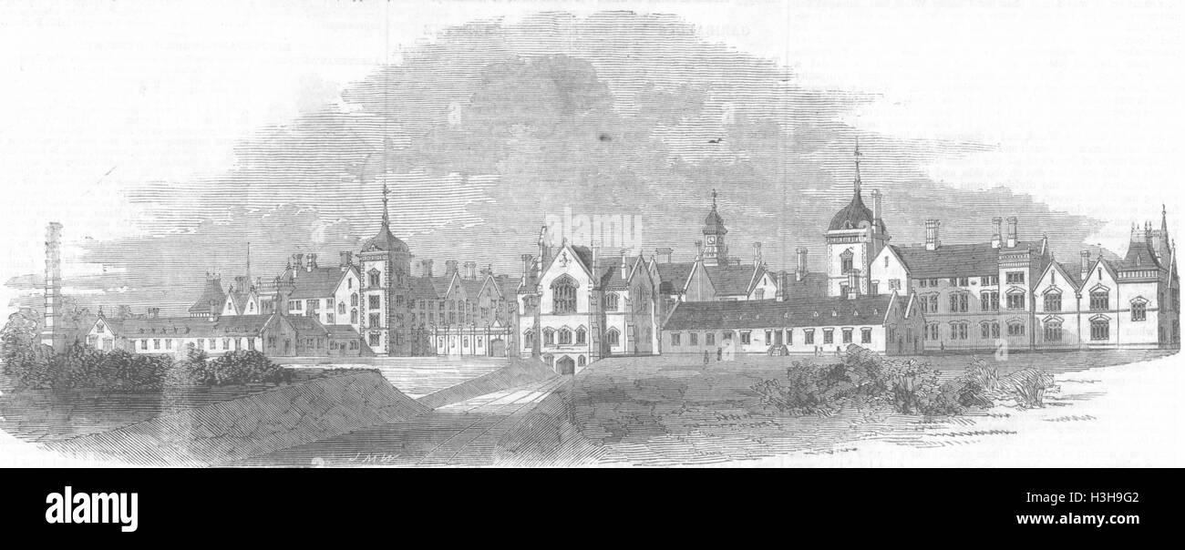 BEDFORDSHIRE Arme Irrenhaus im Arlsey 1860. Illustrierte London News Stockbild