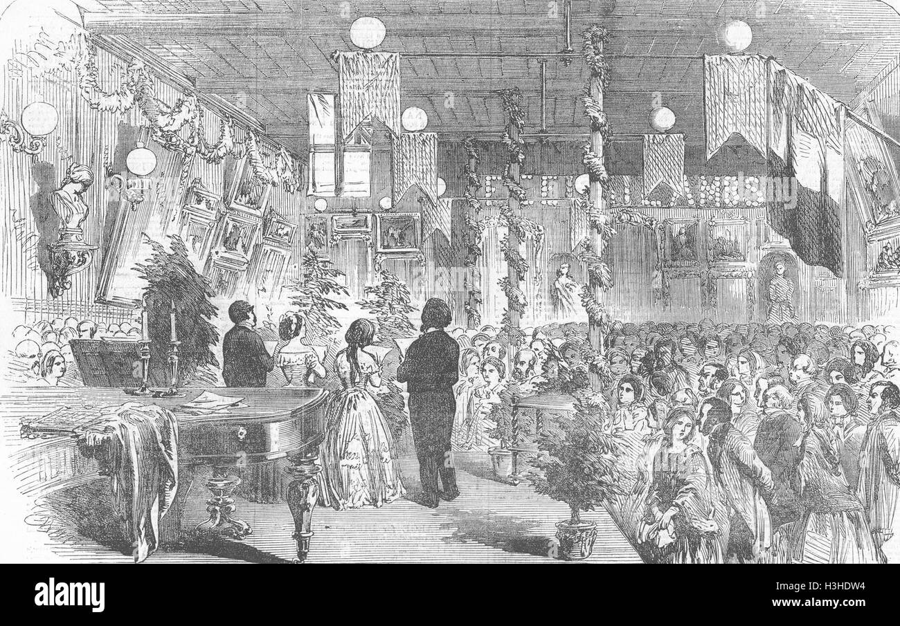 LONDON-Soiree für St. Leonard (Shoreditch) Schule 1855. Illustrierte London News Stockbild
