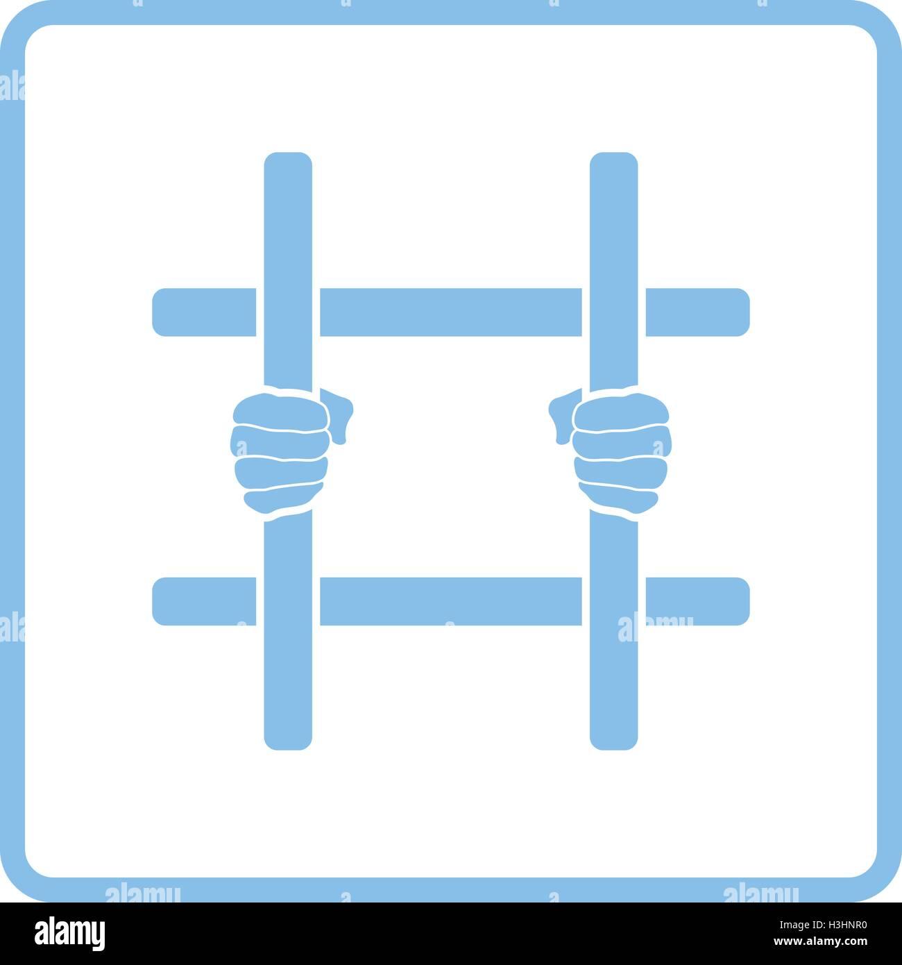 Hände halten Gefängnis-Balken-Symbol. Blauer Rahmen-Design. Vektor ...