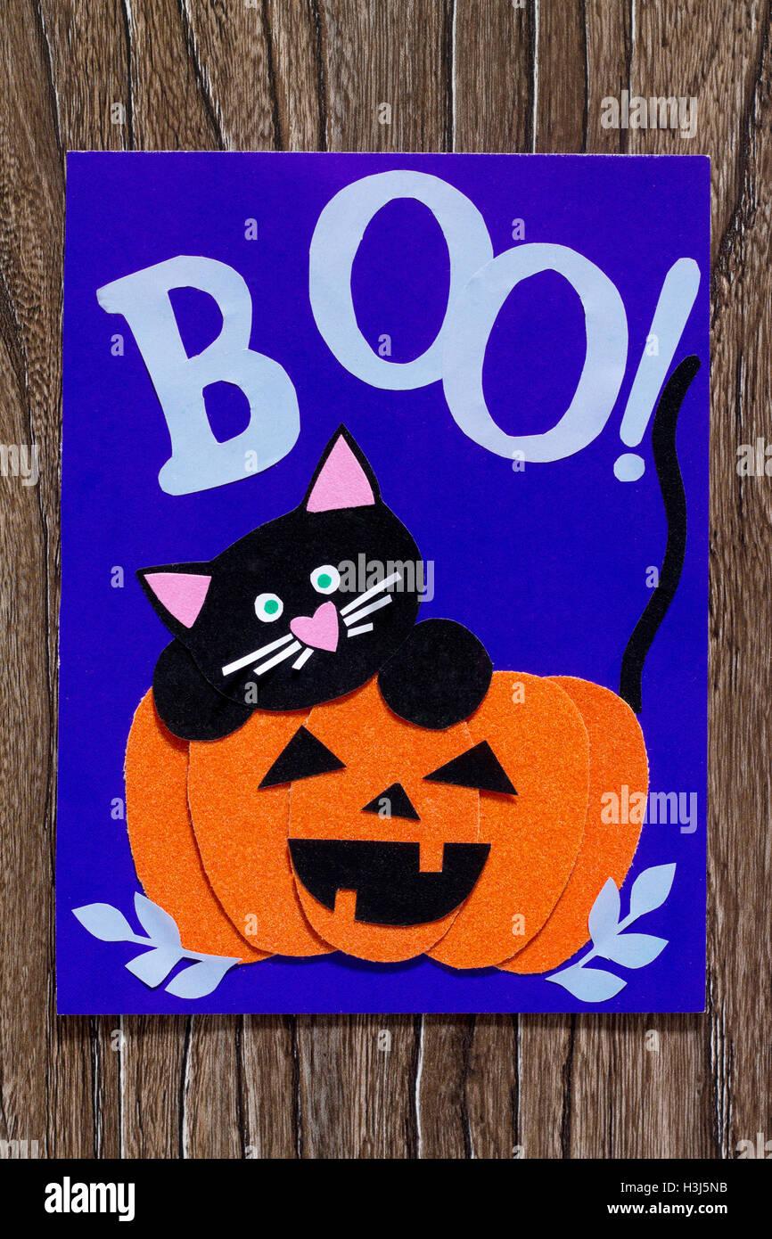 Das Kind eine Geburtstagskarte für Halloween Papier schwarze Katze