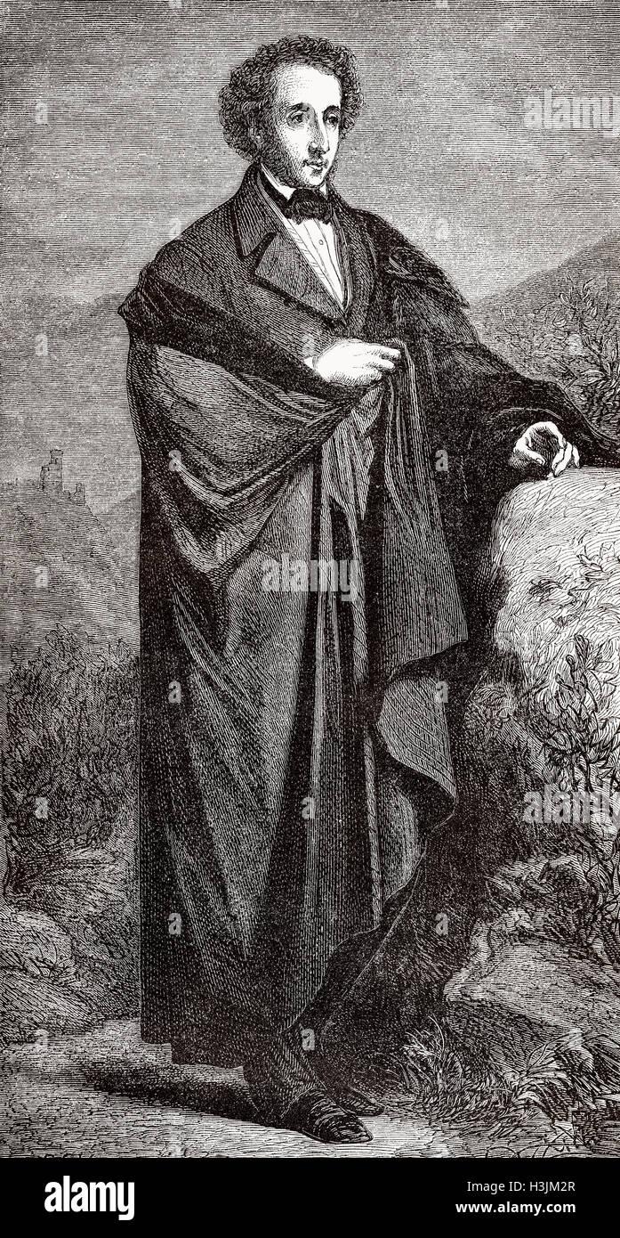 Jakob Ludwig Felix Mendelssohn Bartholdy, 1809-1847, deutscher Komponist, Pianist und Organist der Romantik, Stockbild