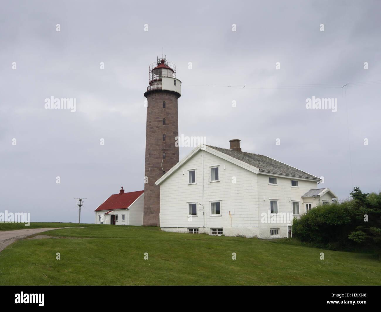 Lista Leuchtturm in der Halbinsel Lista Norwegen Vest-Agder, vollautomatische und wichtig für die Nordsee Schiffsverkehr Stockbild