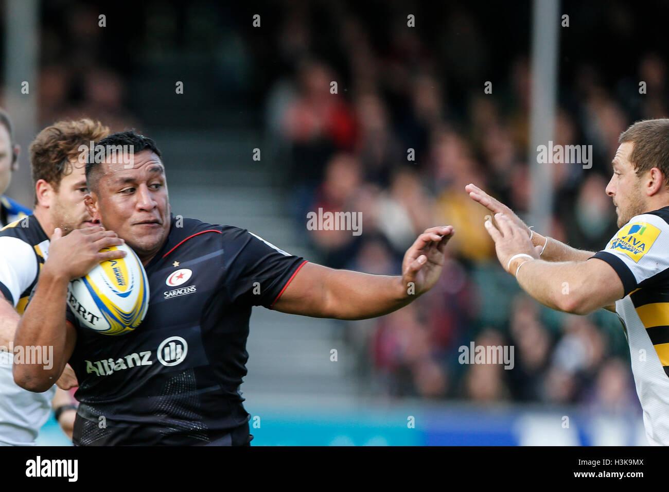 Barnet Copthall, London, UK. 9. Oktober 2016. Aviva Premiership Rugby. Sarazenen gegen Wespen. Mako Vunipola der Stockbild