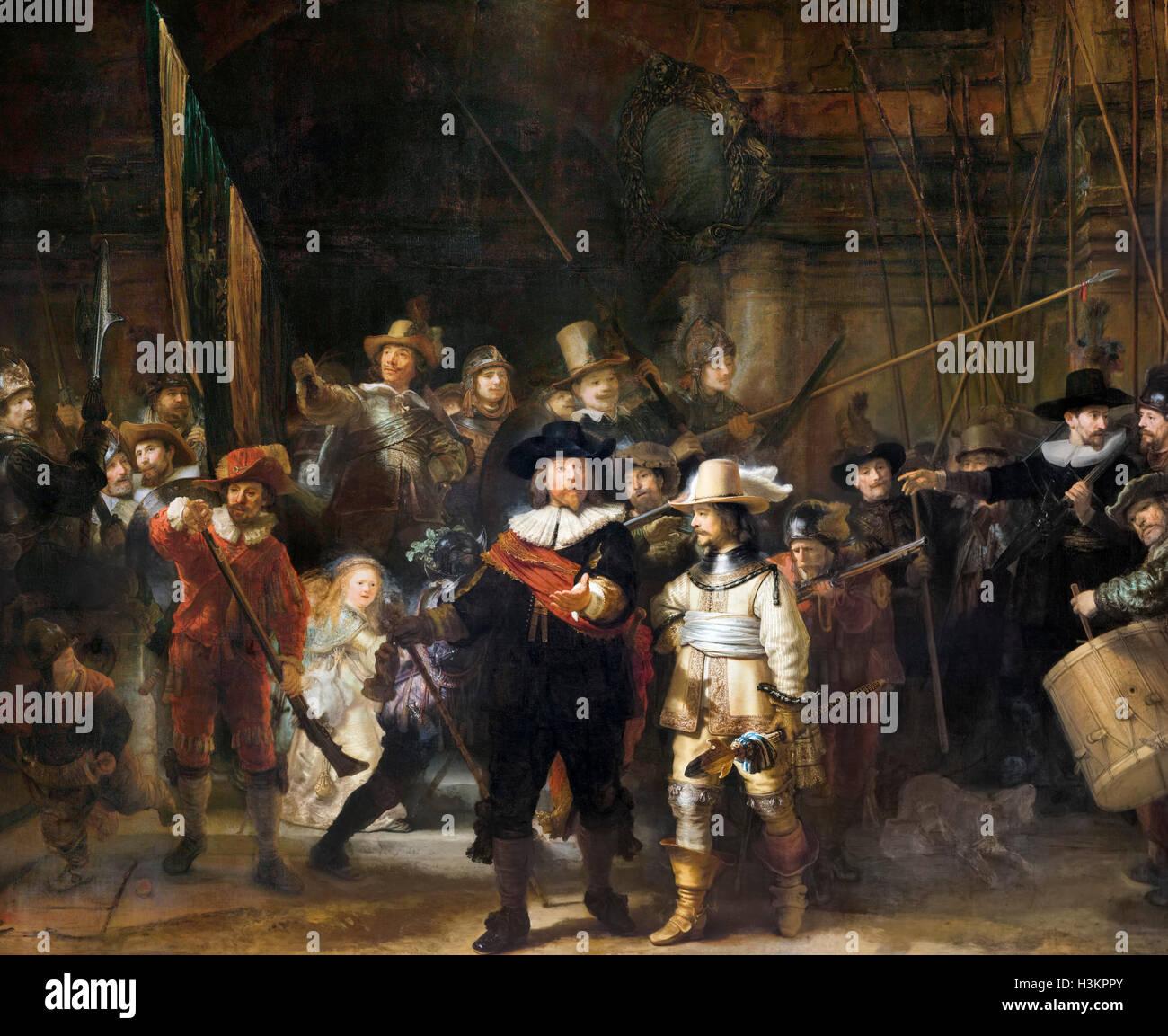 Rembrandt Nachtwache. Die Nachtwache (Miliz Unternehmen von Bezirk II unter dem Kommando von Kapitän Frans Stockbild