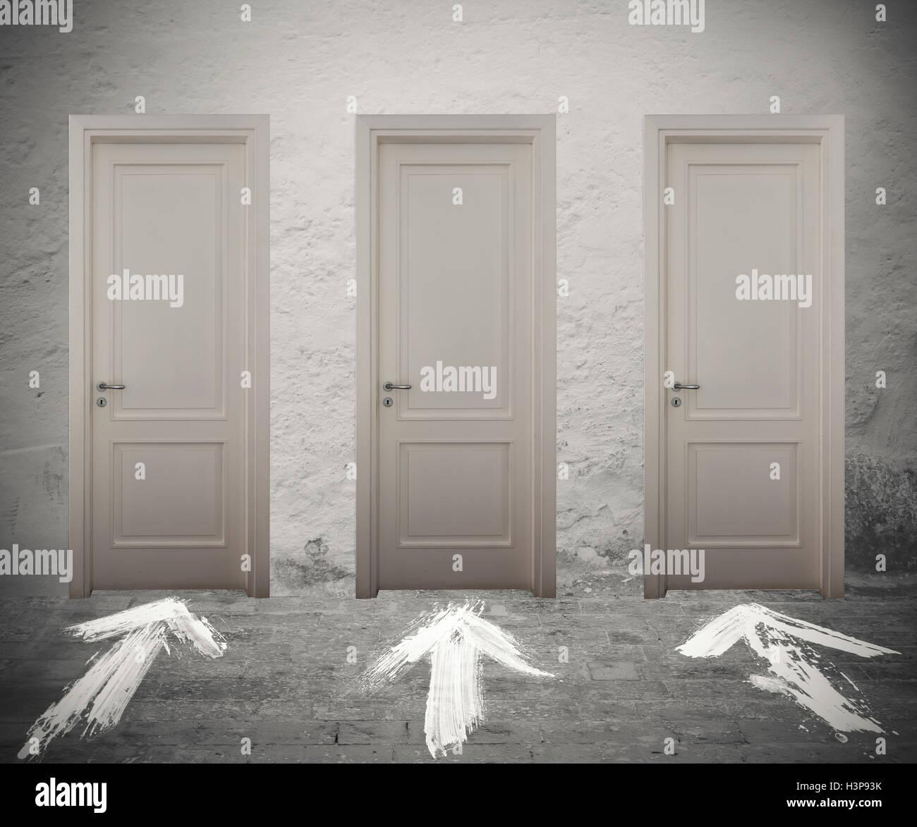 Wählen Sie die richtige Tür Stockbild