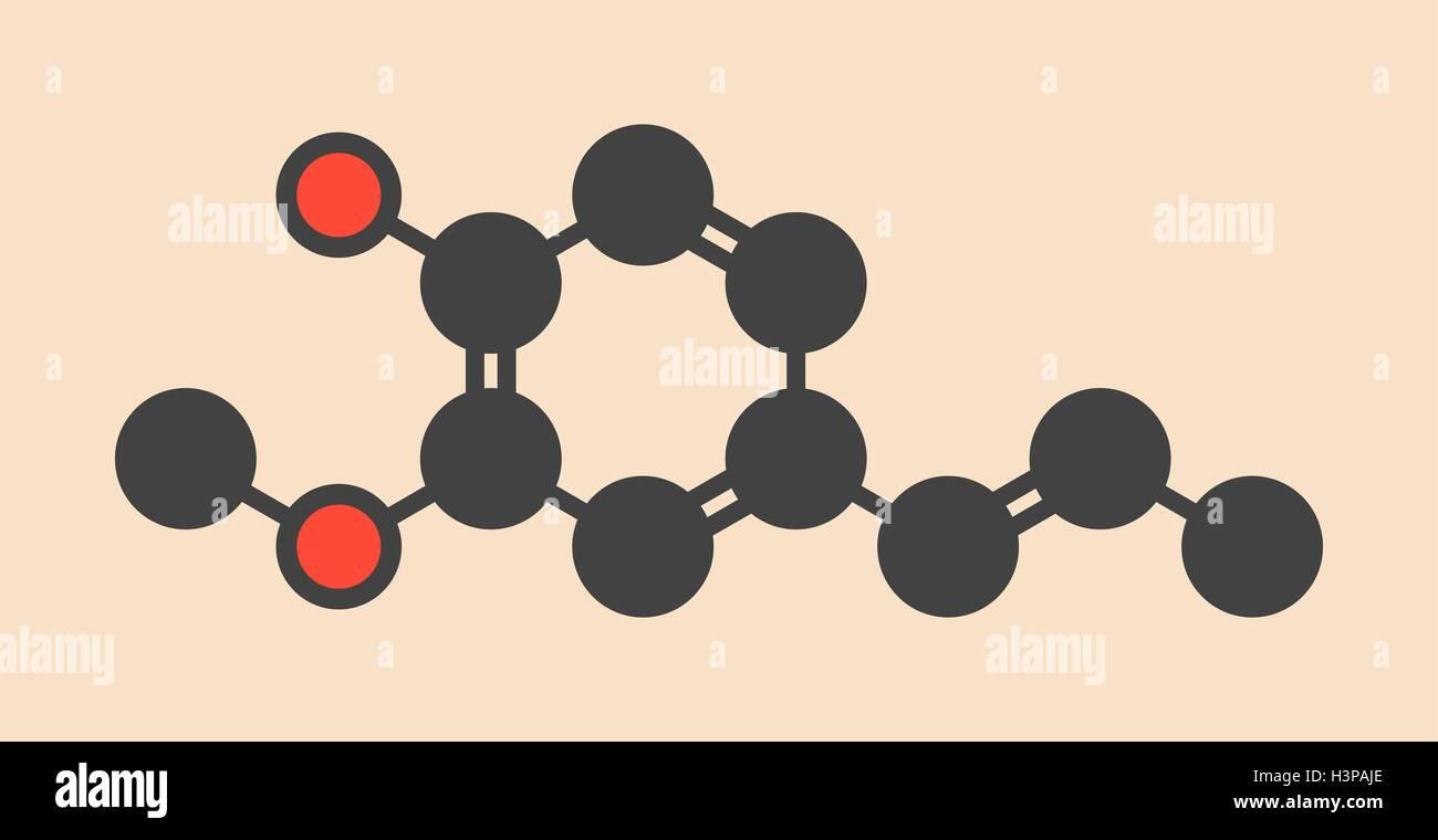 Ligninsulfonsäure Duft Molekül. Stilisierte Skelettformel (chemische Struktur). Atome sind als farbcodierte Stockbild