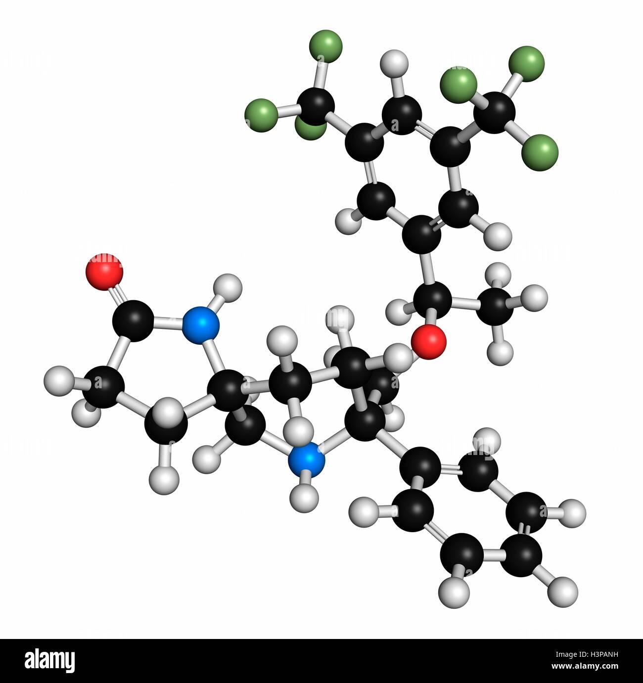 Rolapitant antiemetische Wirkstoffmolekül. Atome werden als Kugeln mit konventionellen Farbkodierung dargestellt: Stockfoto