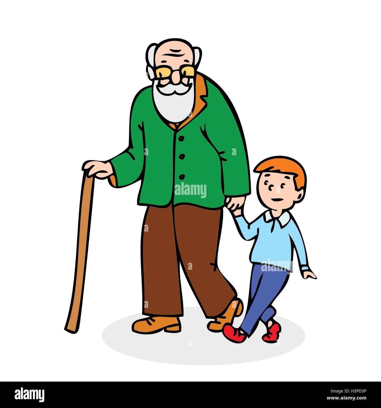 Grossvater Mit Enkel Lustige Alter Mann Mit Stock Und Mit Jungen