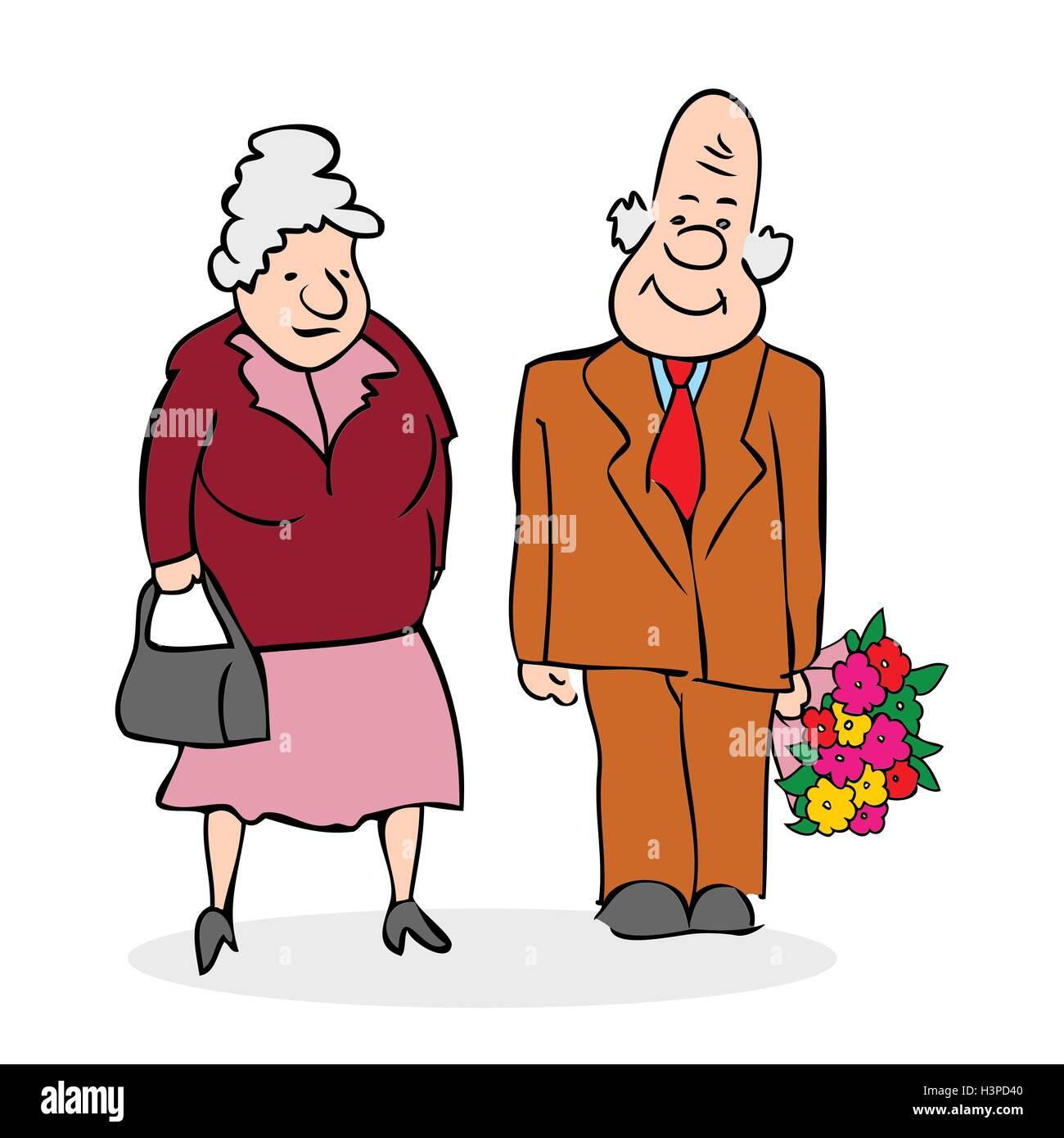 Gerne Alteres Ehepaar Alter Mann Mit Einem Blumenstrauss Altere