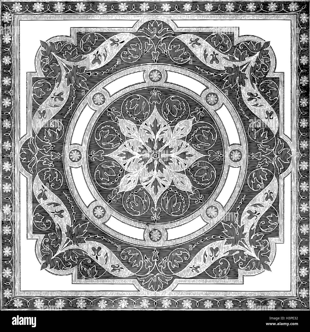 Abstrakten Floralen Mosaik Fliesen Vintage Ornament Nahtlose Vektor