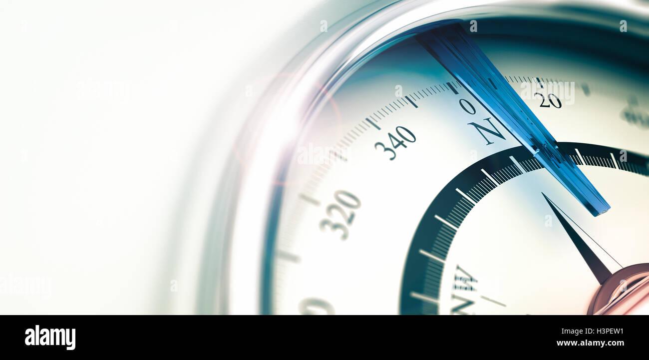 Kompass mit Nadel zeigt im Norden, 3D Illustration mit Tiefe von Feldeffekt, horizontales Bild. Stockbild