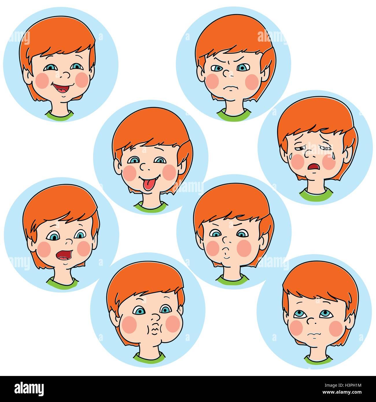 Kind Gesicht Emotion Gesten, Vektor-Illustration, set ...